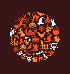 halloween background with witches pumpkins vector image