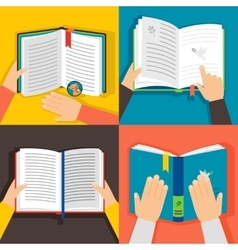Hands holding books vector