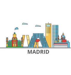 madrid city skyline buildings streets vector image