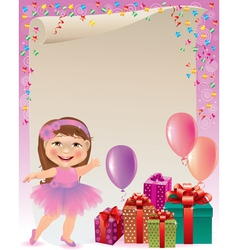 Pink birthday background vector image vector image