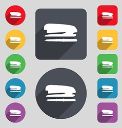 Stapler and pen icon sign a set of 12 colored vector