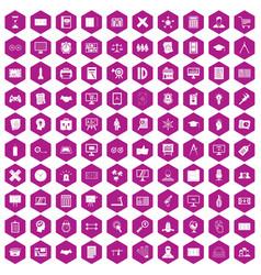 100 plan icons hexagon violet vector image