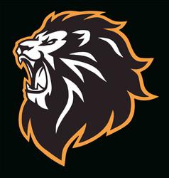 Angry lion head roaring esport mascot logo vector