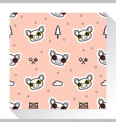 Animal seamless pattern collection with piggy 1 vector image