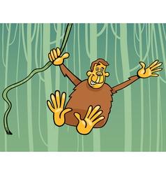 ape in the jungle cartoon vector image
