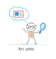 Art critic a magnifying glass and think about the vector