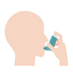 Asthma patient use inhaler graphic information vector