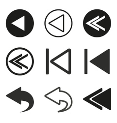 Backward icon set vector