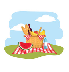 Basket with fruits and bread in the tablecloth vector