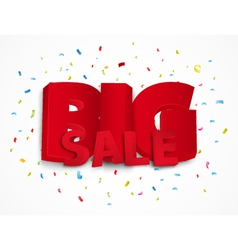 Big sale poster with colorful confetti vector image