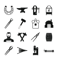 blacksmith icons set simple style vector image