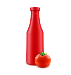blank plastic red tomato ketchup bottle for vector image