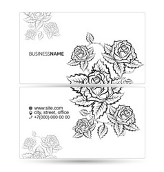 business card with flowers silhouette concept vector image