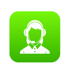 business woman with headset icon digital green vector image