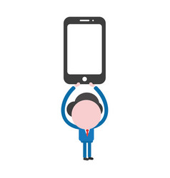 Businessman character holding up smartphone vector