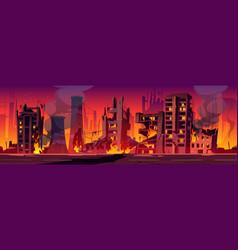 City in fire war destroy burning broken buildings vector