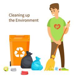 cleaning up environment volunteer sweeps garbage vector image