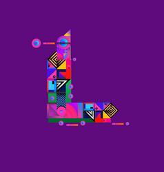 Colorful alphabet font letter l for logo vector