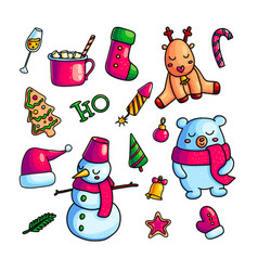 colorful christmas icons in set vector image