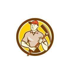 Construction Worker Holding Pickaxe Circle Cartoon vector image