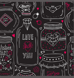 Cute jars love pattern valentines seamless vector