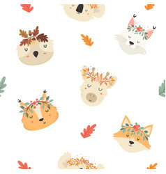 cute seamless pattern with autumn animals in crown vector image