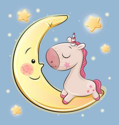 Cute unicorn is sitting on the moon vector
