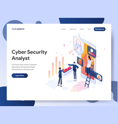 Cyber security analyst isometric concept vector