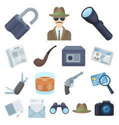detective and attributes cartoon icons in set vector image