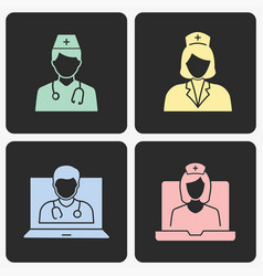 doctor icon set on black background vector image