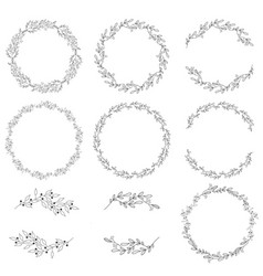 doodle spring wreath collection eps10 vector image