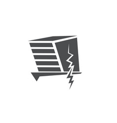Earthquake v icon with damaged house vector