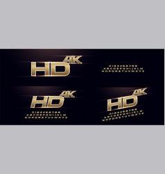 Elegant sport gold 3d metal chrome alphabet font vector