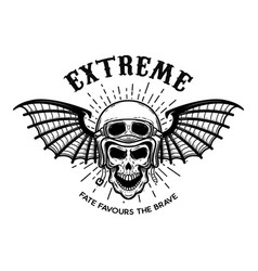 extreme skull in motorcycle helmet with bat wings vector image