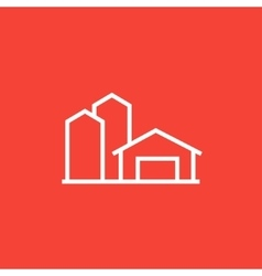 Farm buildings line icon vector image