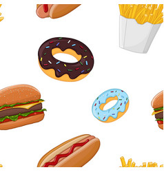 Fast food seamless pattern colored vector