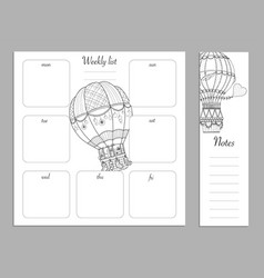 flat design adult coloring page notes weekly and vector image