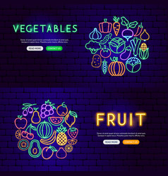 fruit vegetable neon banners vector image