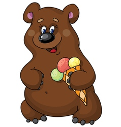Funny bear and ice cream vector