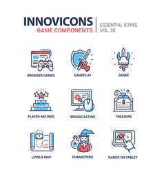 game components - modern line design icons vector image