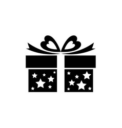 gift box icon with bow ribbon and stars vector image