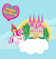 girl on a unicorn - birthday card vector image