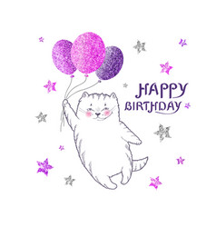 greeting card with white cat with glittering purp vector image