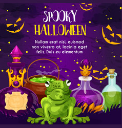 halloween holiday greeting card with potion bottle vector image