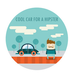 handsome hipster guy in stylish clothes standing vector image