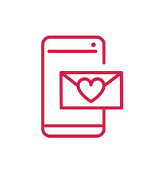 happy valentines day smartphone email heart love vector image