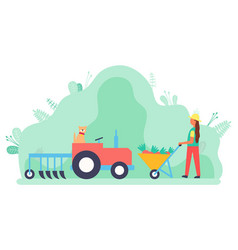 Harvesting woman with carriage filled with carrots vector