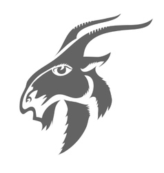Head of Horned Goat vector