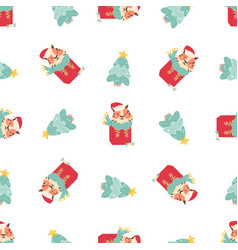 holiday seamless pattern with funny tigers sitting vector image