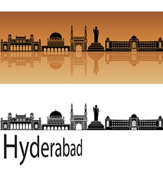 Hyderabad skyline in orange vector